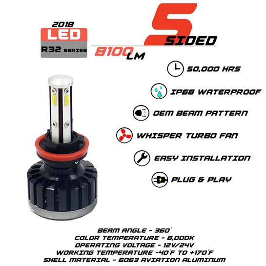 5 Sided H11 LED headlight Bulbs