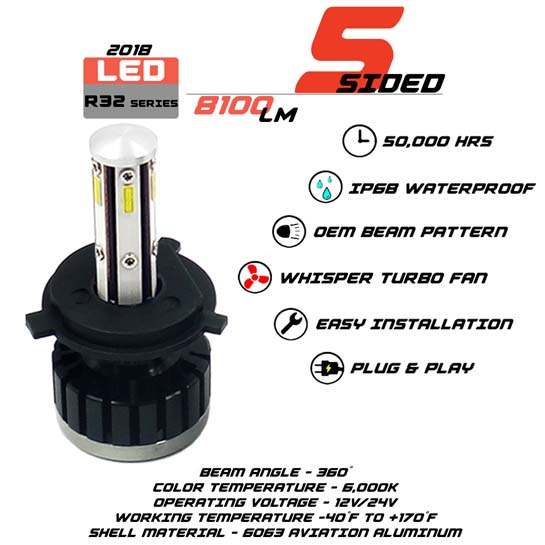 5 Sided H4 LED headlight Bulbs