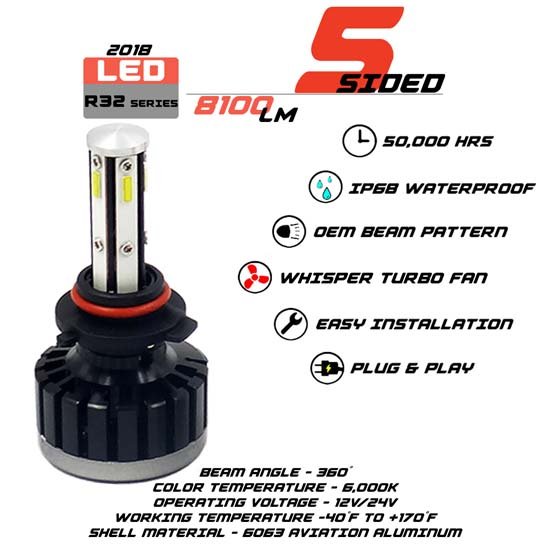 5 Sided HB3 LED headlight Bulbs